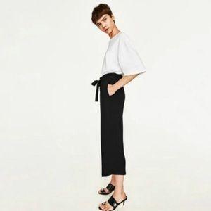 Zara Trafaluc black cropped wide leg culottes